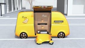 De overdracht van de pizzadoos van zelf-drijft leveringsbestelwagen aan mobiele leveringshommel royalty-vrije illustratie