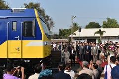 De overdrachtceremonie van diesel-Elektrische locomotief om Spoorweg van Thailand te verklaren Royalty-vrije Stock Foto's