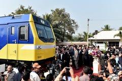 De overdrachtceremonie van diesel-Elektrische locomotief om Spoorweg van Thailand te verklaren Stock Afbeelding
