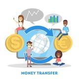 De overdrachtconcept van het geld Financiële transactie en elektronisch royalty-vrije illustratie