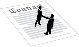 De overeenkomst contract van het bedrijfsmensenteken Royalty-vrije Stock Afbeelding