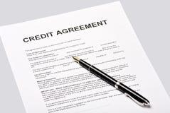 De overeenkomst van het krediet stock foto's