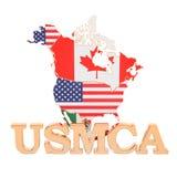 De Overeenkomst van Verenigde Staten Mexico Canada, USMCA-concept 3D renderi vector illustratie