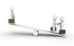 De overeenkomst van zakenlieden over een geschommel Stock Foto's