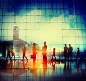 De Overeenkomstencityscape van de bedrijfsmensenhanddruk Concept Stock Fotografie