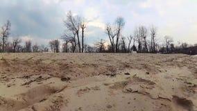 De overgang van een zandig strand naar een blauwe hemel met grote wolken en vliegende vogels Bank van de rivier, de lente, de zom stock videobeelden