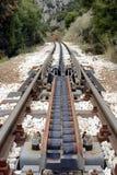 De overgangssysteem van de radertjetractie bij spoorweg diakofto-Kalavryta stock foto's