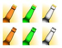 De overgehelde halzen van de bierfles vector illustratie
