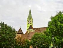 De overgehelde toren in Media, Roemenië Royalty-vrije Stock Afbeeldingen