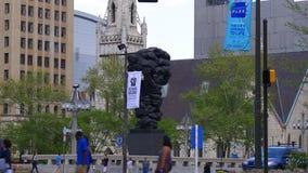 De overheid van de de zomerdag van de mensen beeldhouwt 4k Philadelphia de V.S. stock footage