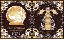 De overladen uitstekende kaarten van de Kerstmisgroet met bloemendocument verwijderen grens, Kerstmisboom, gouden engelen, sneeuw royalty-vrije illustratie