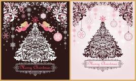 De overladen uitstekende zoete de kaartenvariatie van de Kerstmisgroet met bloemen decoratief document verwijderde grens, Kerstmi royalty-vrije illustratie