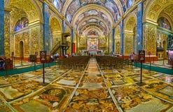 De overladen vloer van St John Co-Kathedraal, Valletta, Malta stock afbeeldingen