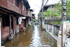 De overstroming van Bangkok Stock Afbeeldingen