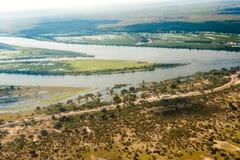 De overstroming van vernietigde straat in Botswana Royalty-vrije Stock Foto
