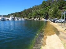 De overstromingenzeedijk van het koningsgetijde dichtbij Sydney Royalty-vrije Stock Foto
