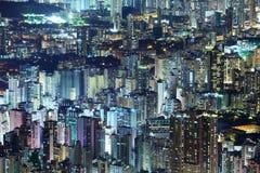 De overvolle bouw van de binnenstad in Hong Kong Stock Afbeelding