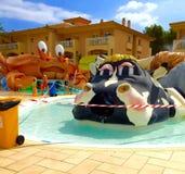 De kinderen zwemmen pool voor het schoonmaken wordt gesloten die Royalty-vrije Stock Afbeeldingen