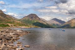 De overweldigende landschapsmening van Wast-Water en fells in het Meer Dist royalty-vrije stock afbeeldingen