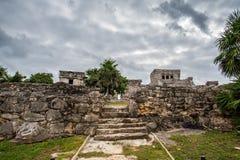 De overweldigende oude beschaving van tulummexico stock afbeeldingen