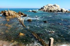 De overweldigende rotsachtige Renaca-kustlijn stock fotografie