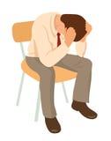 De overwerkte zakenman is onder spanning met hoofdpijn Ongerust gemaakte mens vector illustratie