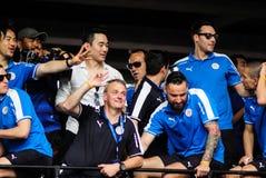 De overwinningsparade van een Engelse Stad van Leicester van de Voetbalclub, de kampioen van de Engelse Eerste Liga van 2015 - va Stock Afbeelding