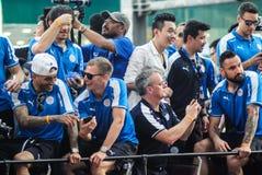 De overwinningsparade van een Engelse Stad van Leicester van de Voetbalclub, de kampioen van de Engelse Eerste Liga van 2015 - va Stock Foto