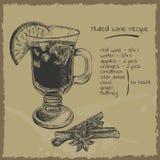 De overwogen illustratie van het wijnrecept Stock Afbeeldingen