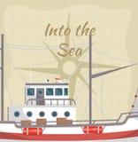 In de overzeese affiche met commercieel schip vector illustratie