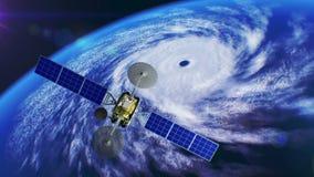 De overzeese cycloon op achtergrond, fictieve weersatelliet vliegt voorbij, 3d animatie Alle texturen werden gecreeerd in vector illustratie