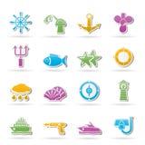 De overzeese pictogrammen van de marine en Royalty-vrije Stock Afbeeldingen