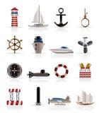 De Overzeese Pictogrammen van de marine, het Varen en vector illustratie