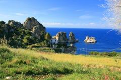 De overzeese zomer, Blauwe Mediterraneo Royalty-vrije Stock Fotografie