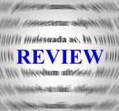 De overzichtsdefinitie vertegenwoordigt evalueert Overzichten en Inspectie Stock Afbeelding