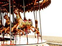 De paarden en de lichten van de carrousel   Stock Afbeeldingen