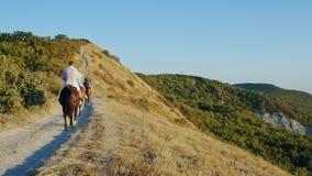 De paarden van de groeps mensen rit door schitterende berghellingssleep stock footage