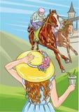 De paardenrennenconcurrentie Vector illustratie derby Vrouw met cocktail in hoed royalty-vrije illustratie