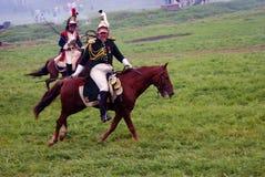 De paardruiters in Borodino vechten het historische weer invoeren in Rusland Stock Foto