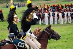 De paardruiters in Borodino vechten het historische weer invoeren in Rusland Royalty-vrije Stock Afbeeldingen