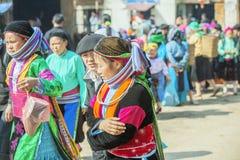 De paaretnische minderheid, bij oude Dong Van-markt royalty-vrije stock fotografie