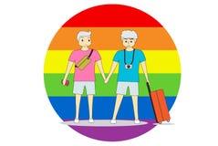 De paarmensen bevinden zich hand in hand met reis Voor een kleurrijke achtergrond, symboliseert LGBT gelijkheid royalty-vrije illustratie