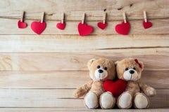 De paarteddybeer die een hart-vormig hoofdkussen houden Stock Foto's