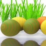 De Paaseieren betekent Groen Gras en Milieu Stock Afbeeldingen