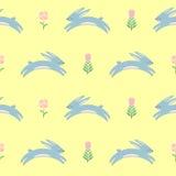 De paashaas met de lente bloeit naadloos patroon op gele achtergrond royalty-vrije illustratie