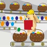 De paashaas telt de eieren op de transportband vector illustratie