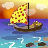 De paashaas zwemt op een zeilboot vector illustratie