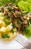 De paddestoel en de salade van de aardappel Stock Foto's