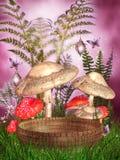 De paddestoelen van de fantasie en een mand vector illustratie