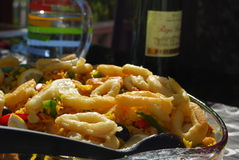 De paella bedriegt calamares Royalty-vrije Stock Afbeeldingen